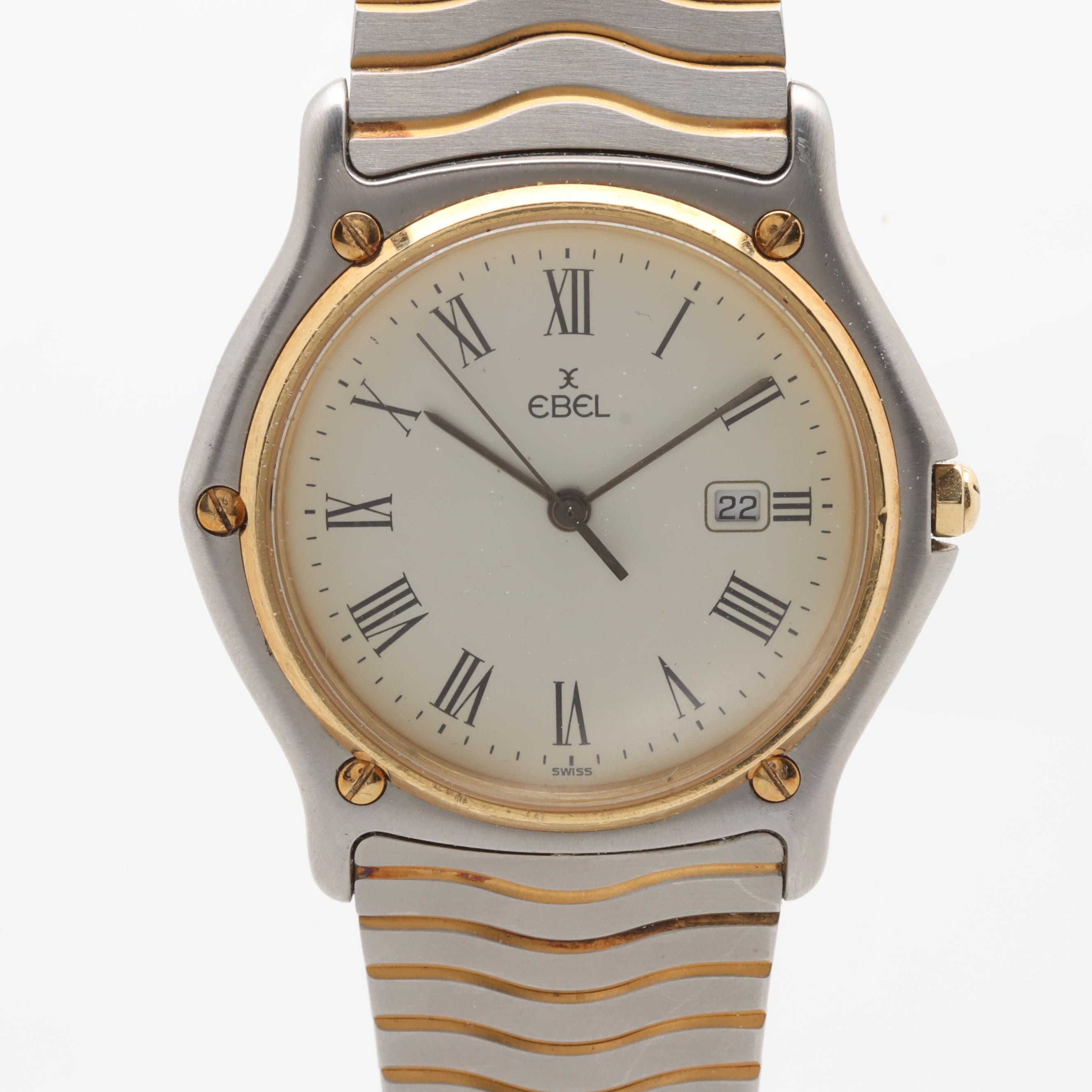 Ebel Stainless Steel and 18K Yellow Gold Wristwatch