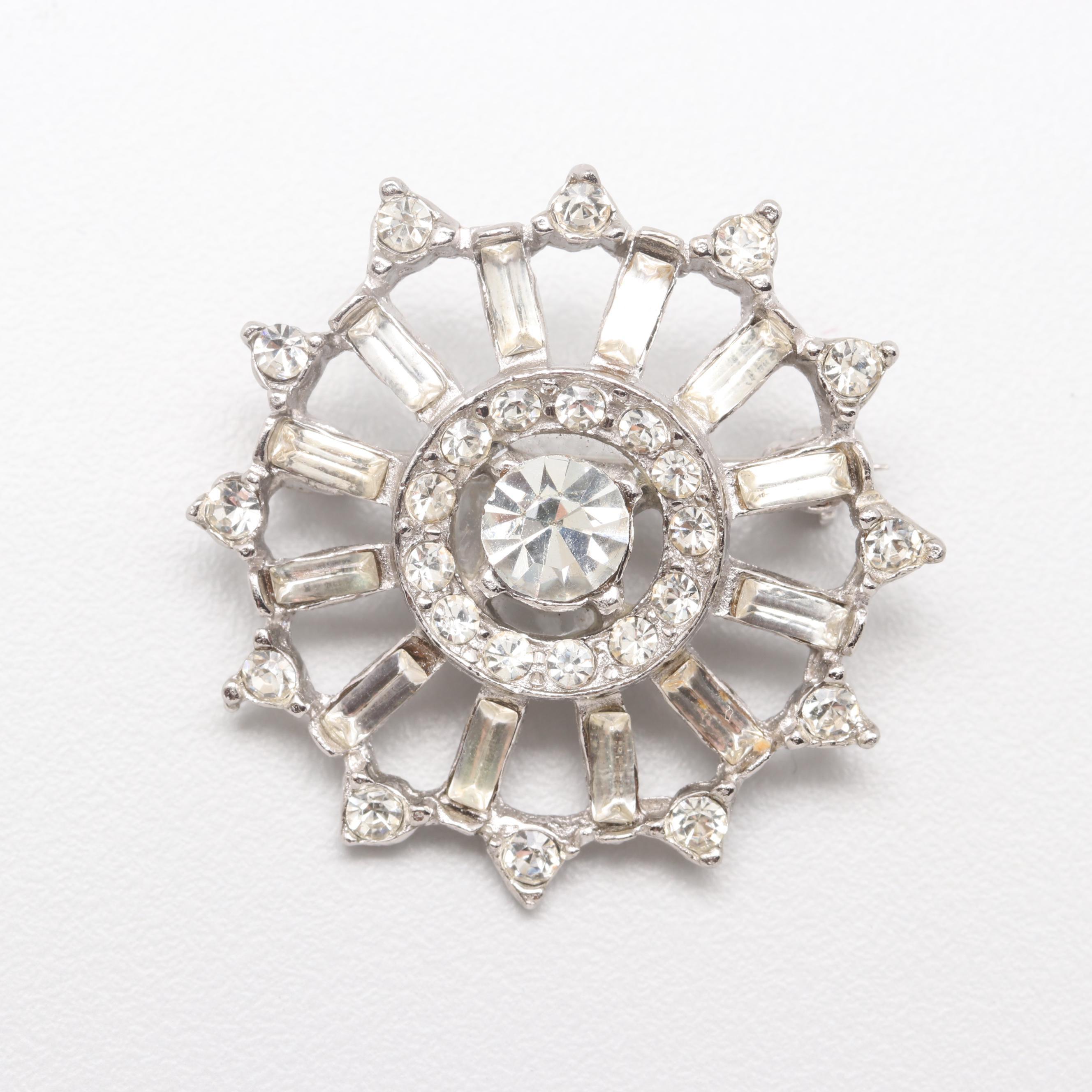 Silver Tone Glass Crystal Brooch