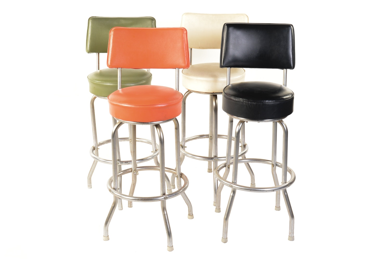 Mid Century Modern Vinyl Upholstered Barstools