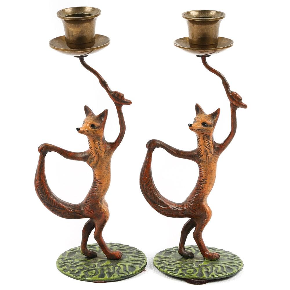 "Vintage Painted Brass ""Fox"" Candlesticks"