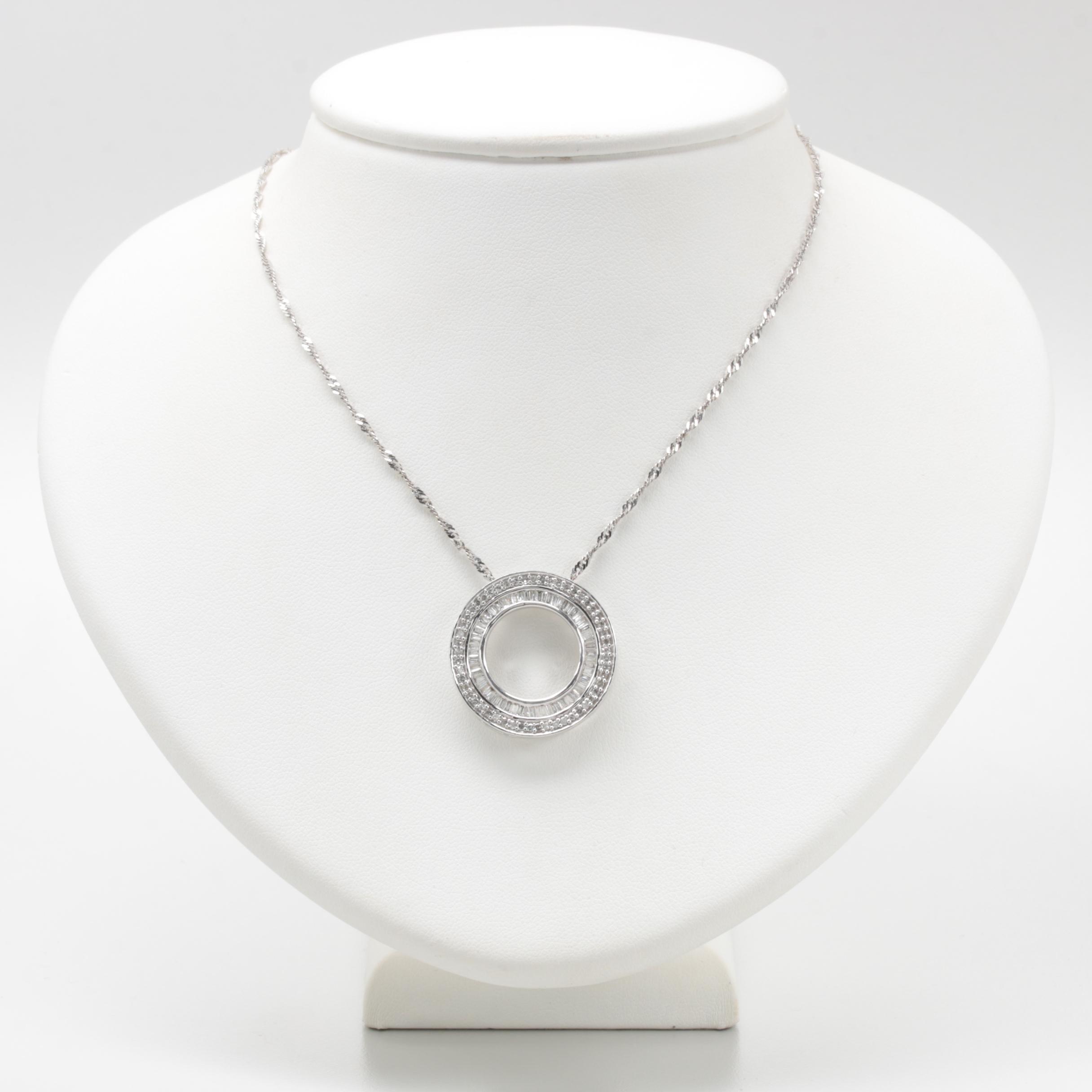 14K White Gold 1.33 CTW Diamond Pendant Necklace