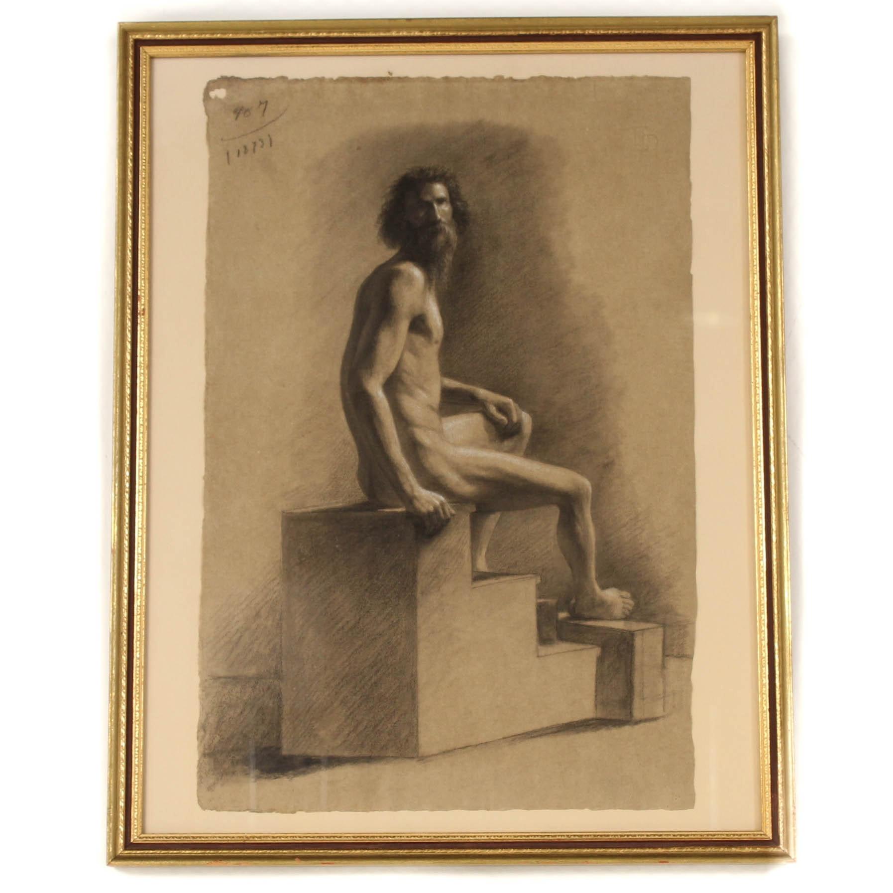 19th Century Giuseppe Canevelli Italian Charcoal Figure Study