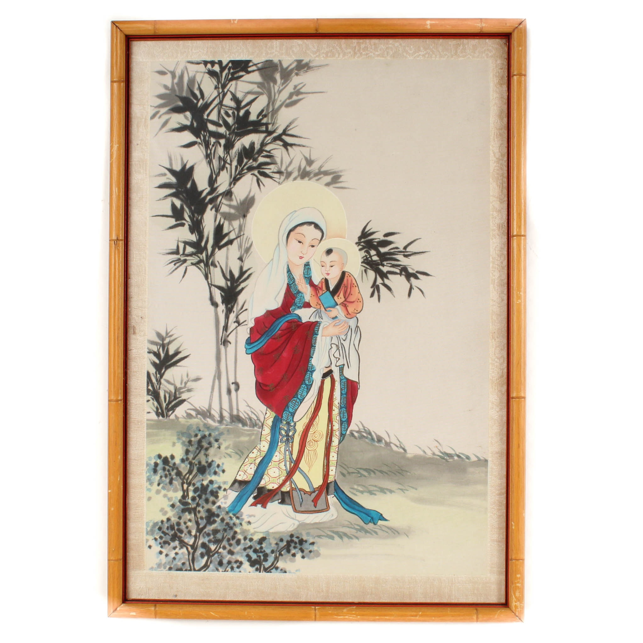 Chinese Watercolor Depicting The Virgin Mary and Jesus