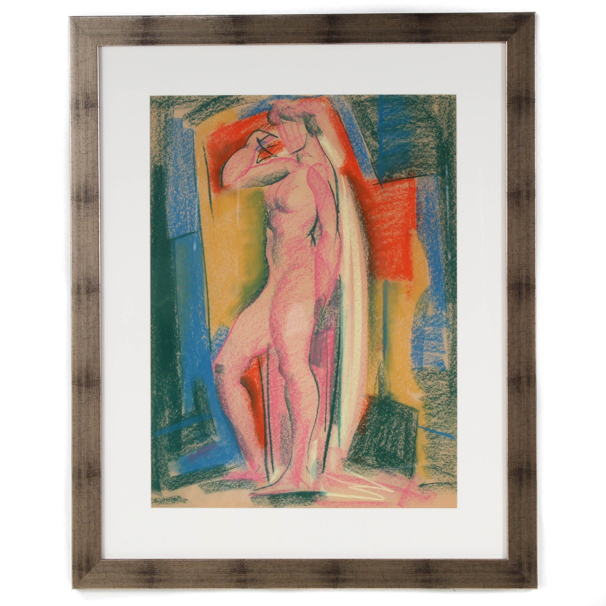 Attributed to Paul Travis Pastel Figure Drawing