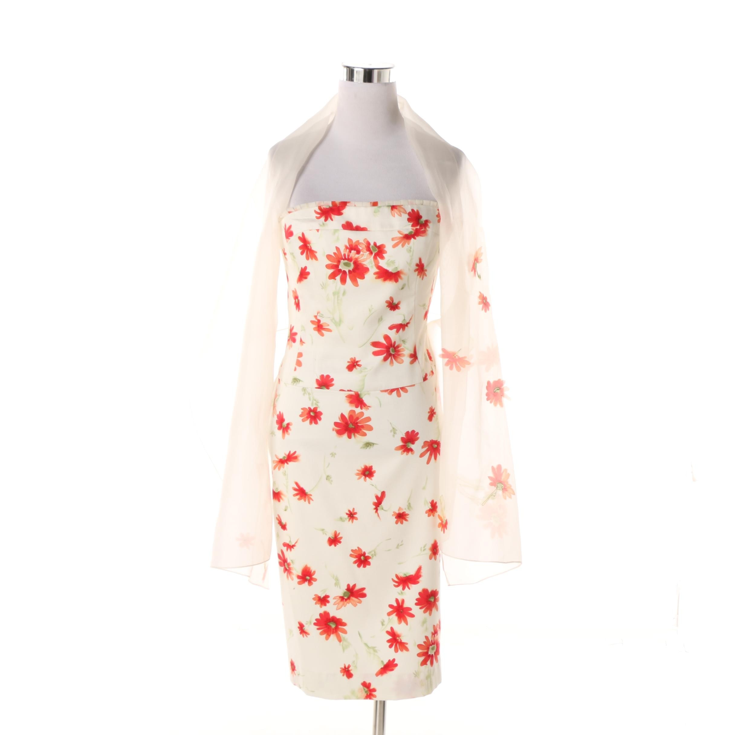 Kay Unger New York Floral Print Strapless Cocktail Dress with Wrap
