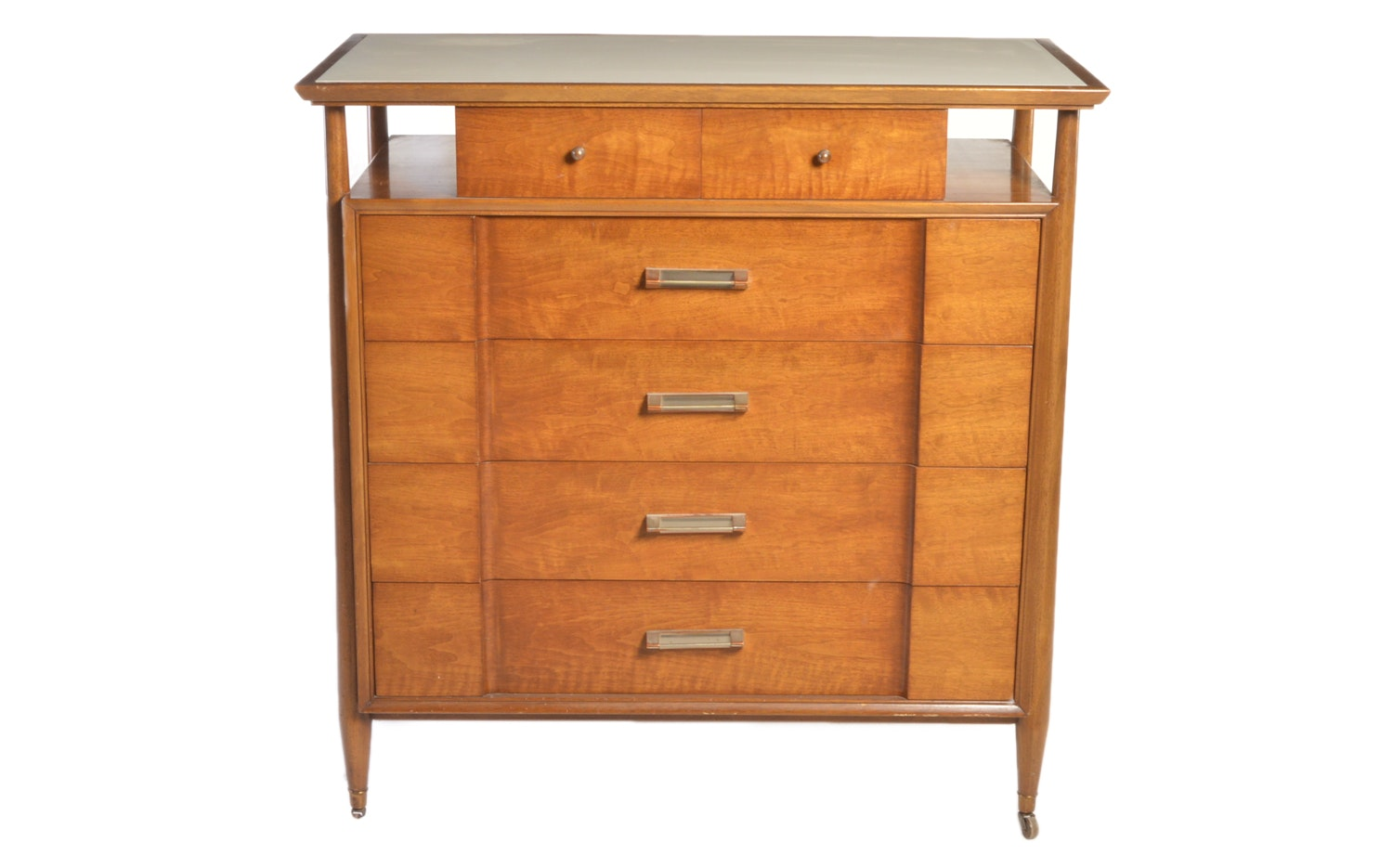 1950s Mahogany, Walnut and Vitrolite Rolling Chest of Drawers by Landstrom