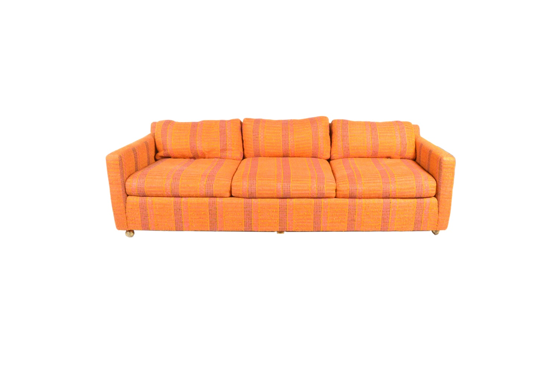 Mid Century Modern Orange and Pink Stripped Sofa by John M Smyth