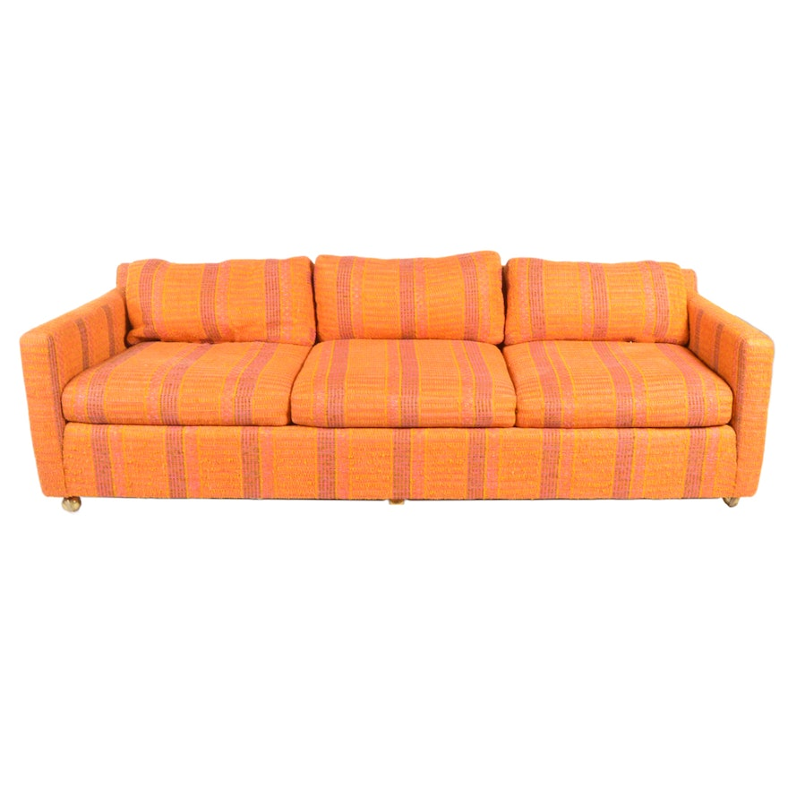 Mid Century Modern Orange and Pink Stripped Sofa by John M Smyth