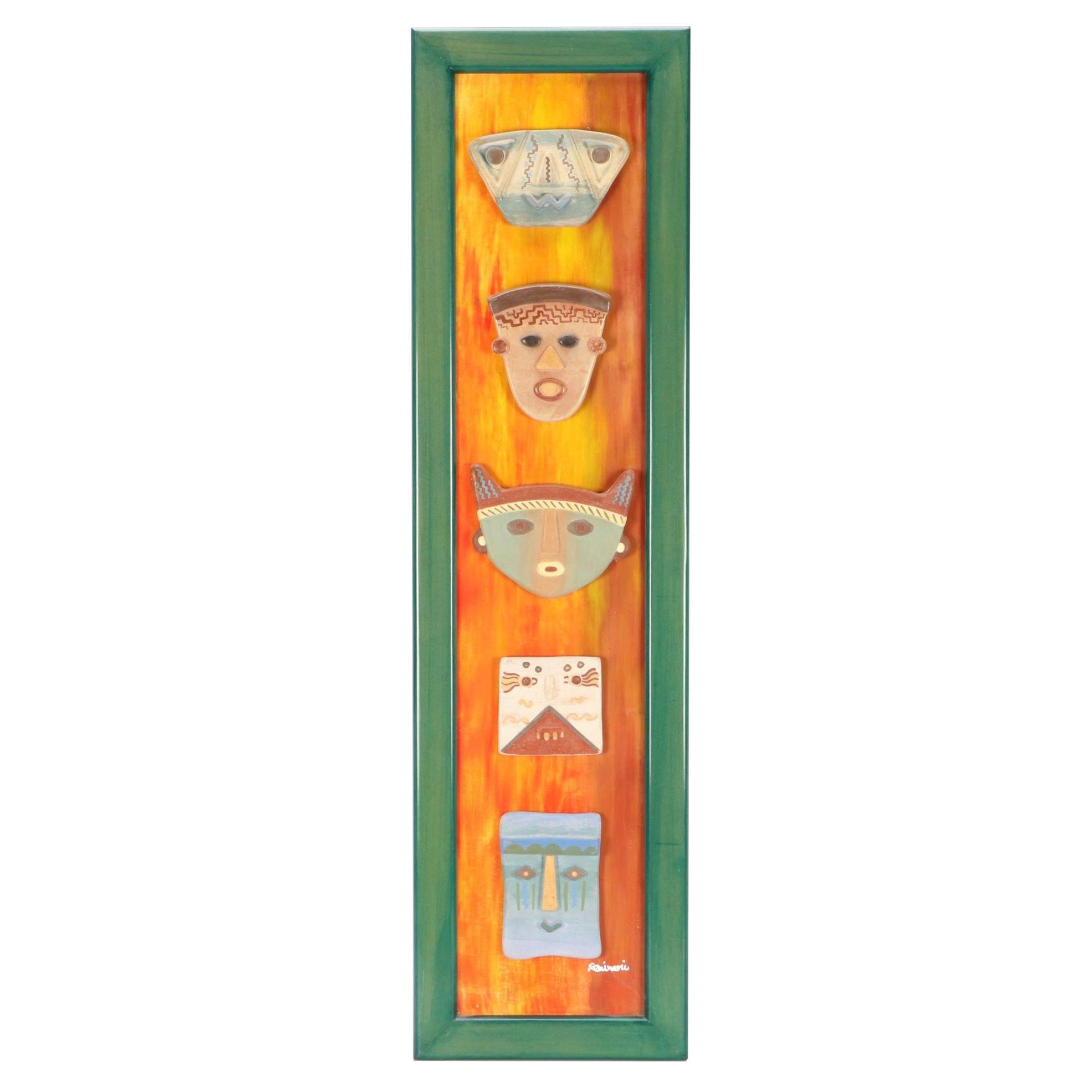 Seminario Cerámicas 2004 Decorative Mask-Themed Wall Panel