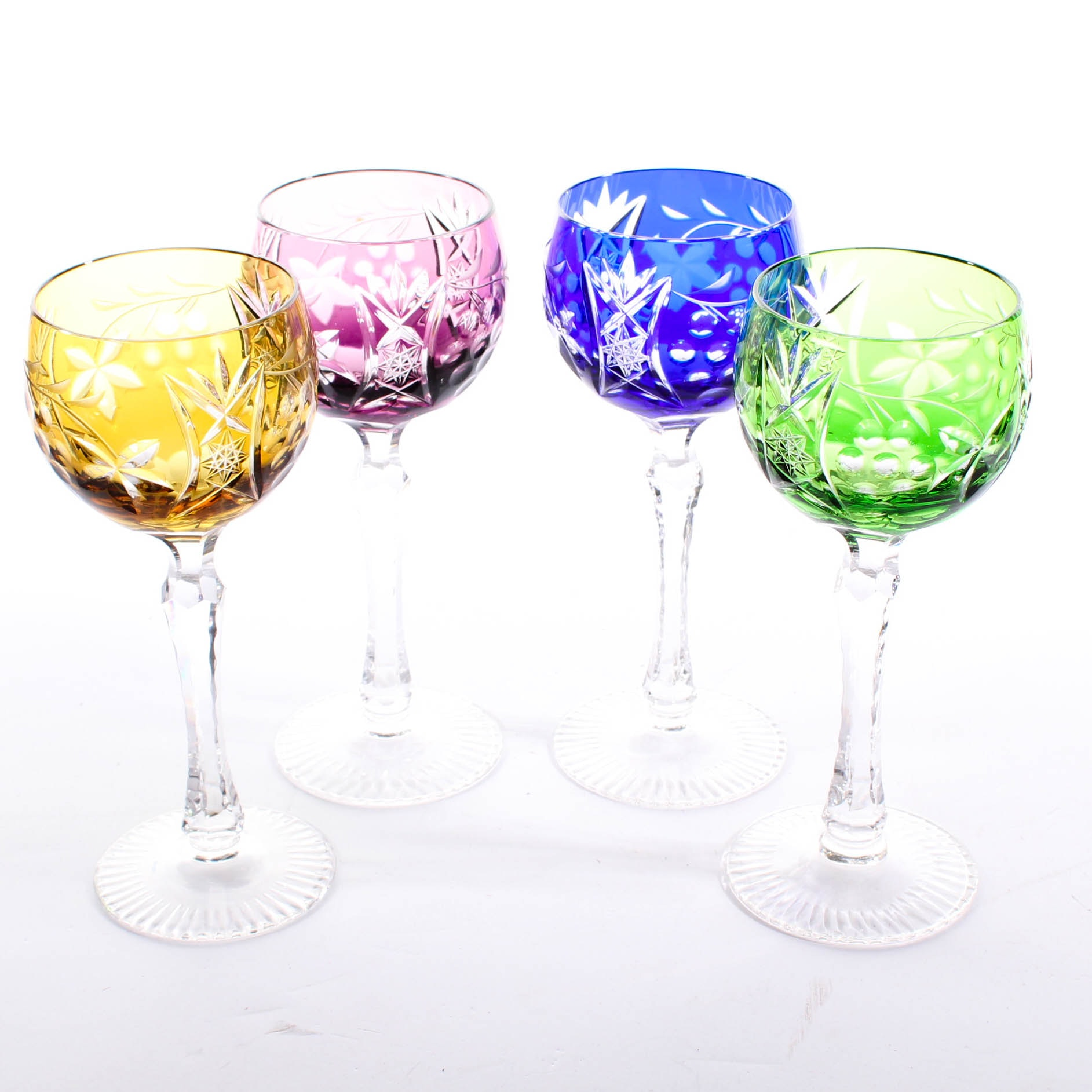 Bohemian Colored Cased Cut to Clear Crystal Hock Wine Glasses