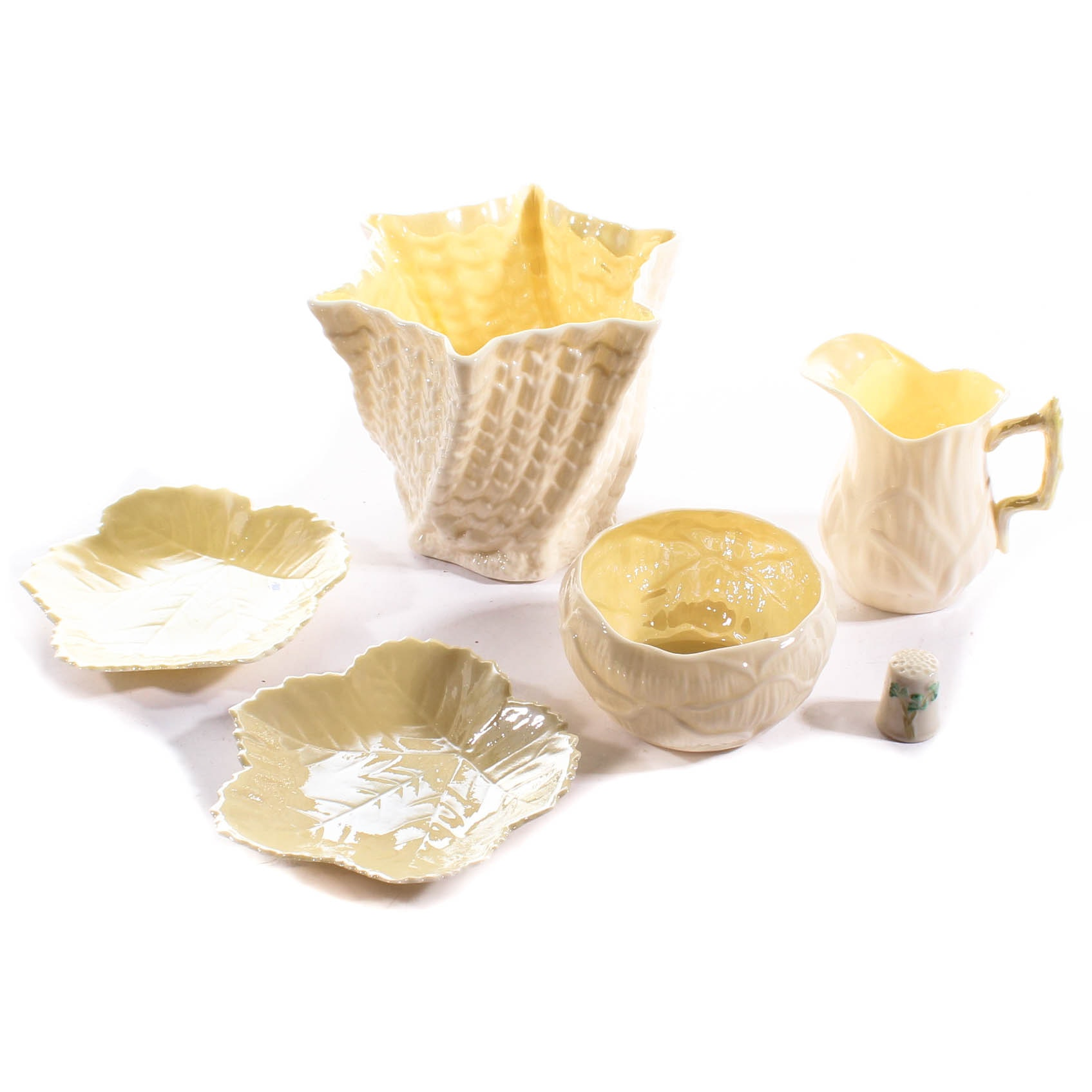 Belleek Parianware Serving Pieces and Thimble