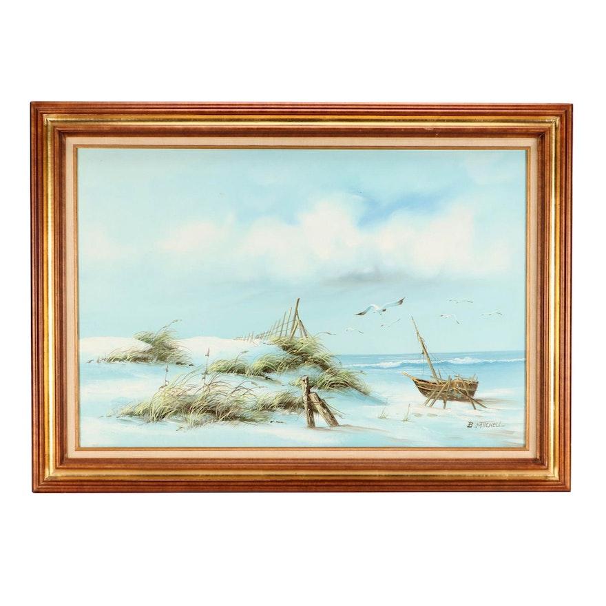 B Mitchell Oil Coastal Painting