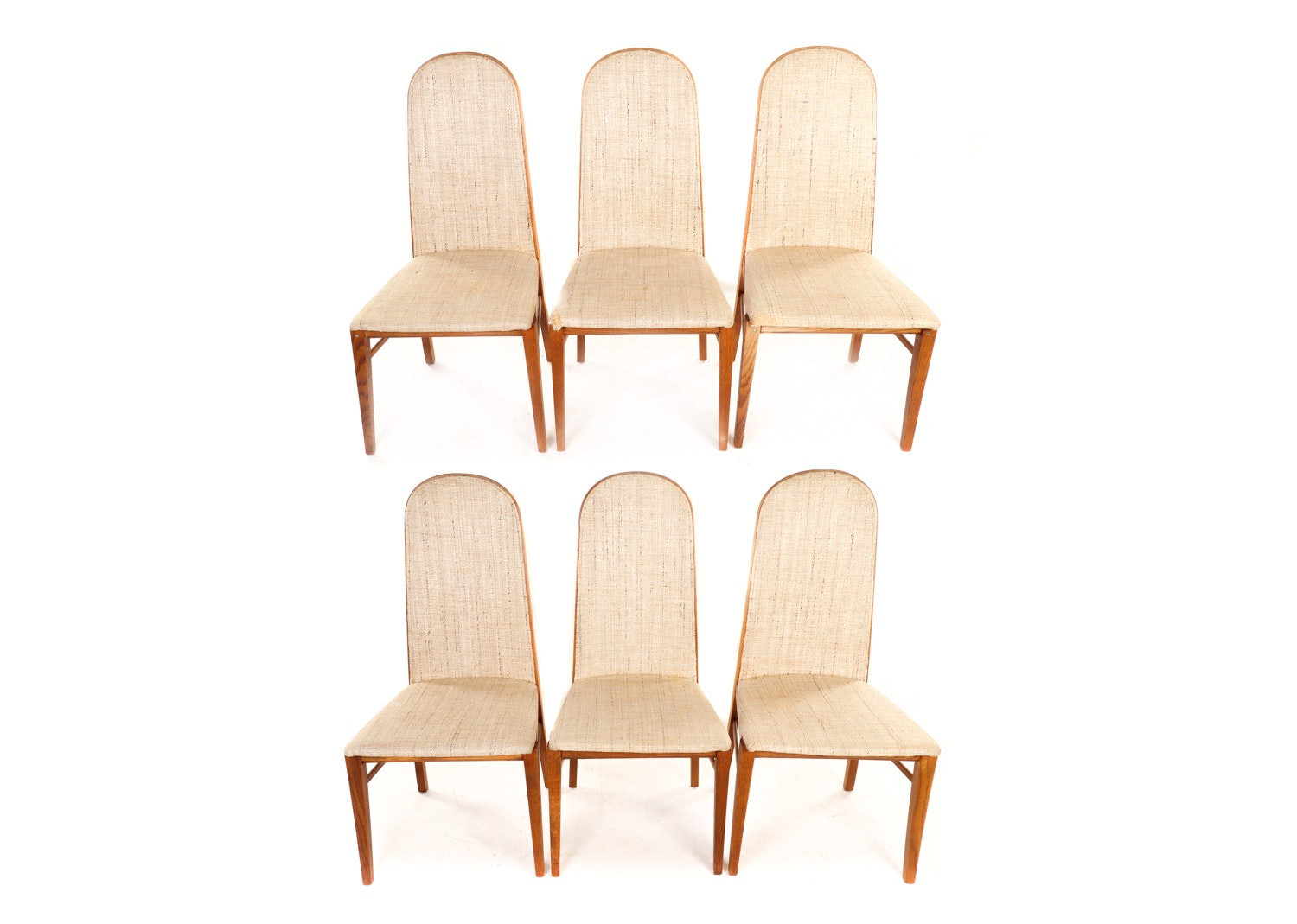 Tan Upholstered Oak Dining Chairs by Dillingham