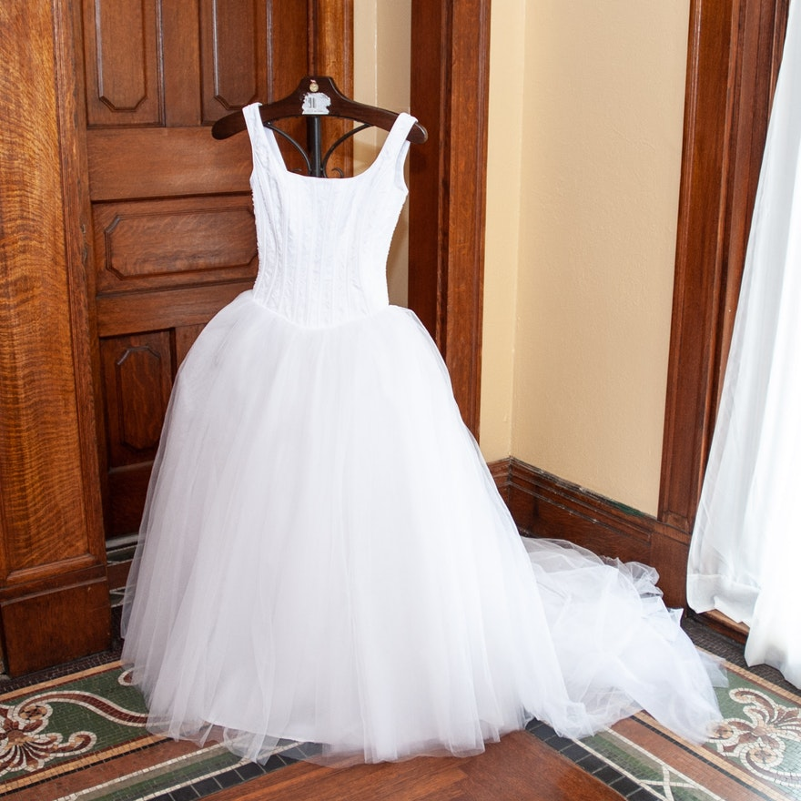 Merry Max Bridal Company White Sleeveless Corset Wedding Gown with ...