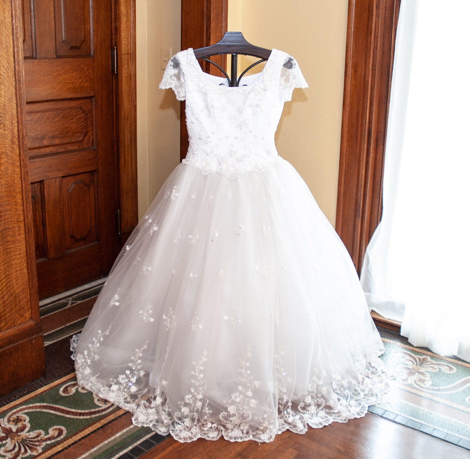 PC Mary's White Beaded Lace and Organza Wedding Gown