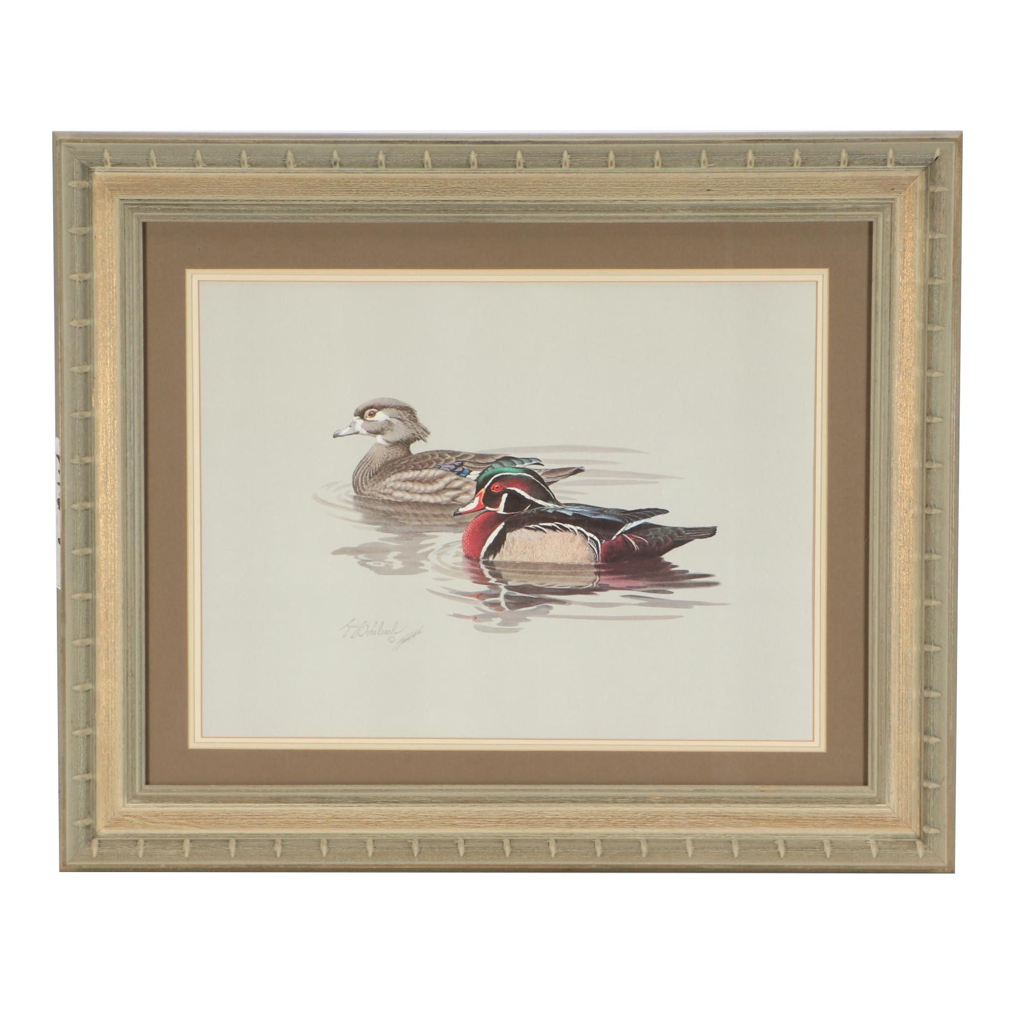 Guy Coleheach Offset Lithograph Print of Wood Ducks