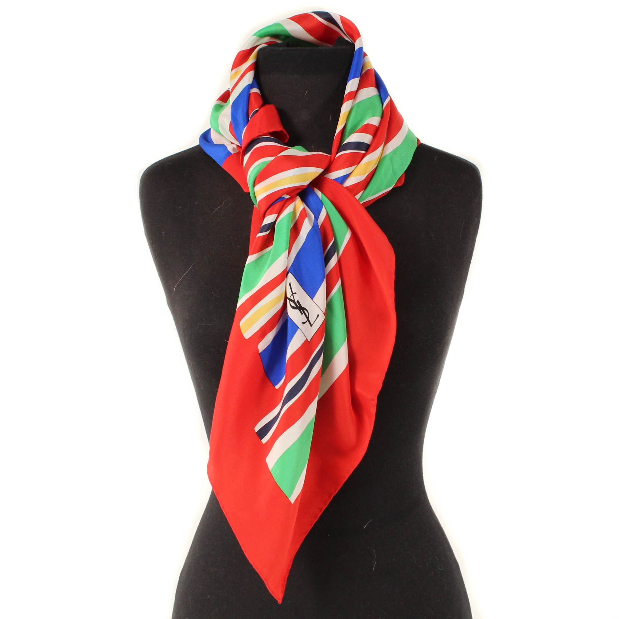 Vintage Yves Saint Laurent Multicolor Silk Scarf