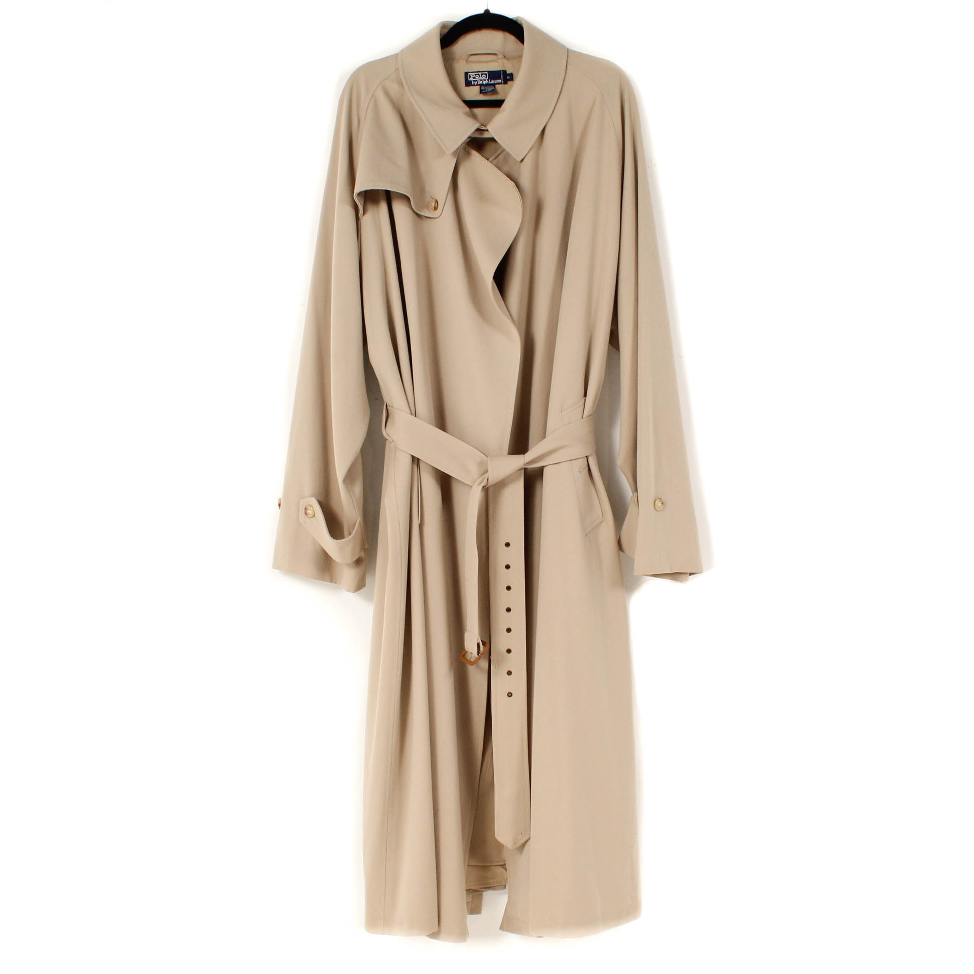 Women's Polo by Ralph Lauren Khaki Wool Trench Coat
