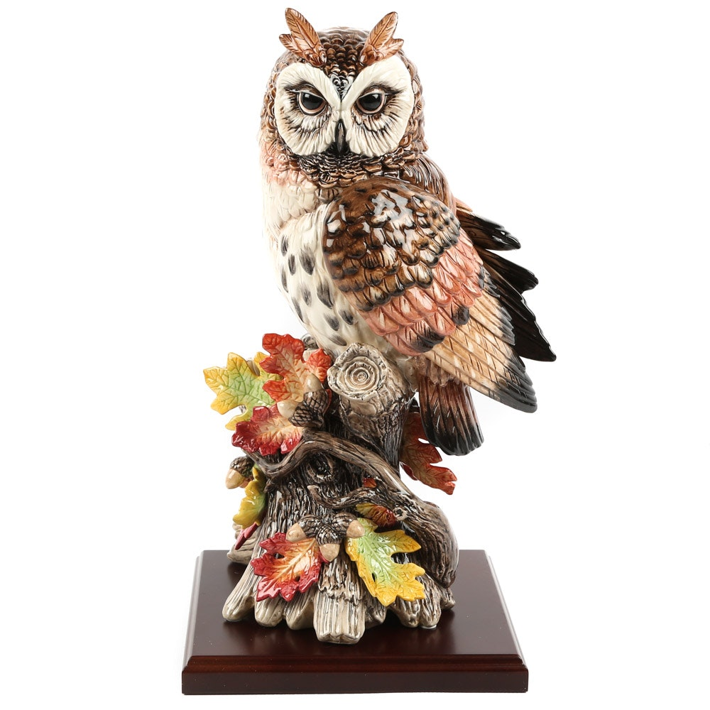 "Fitz and Floyd ""Exotic Birds"" Owl Figurine with Stand"