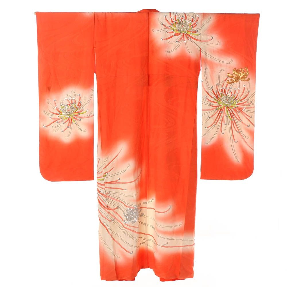 Vintage Japanese Coral Silk Furisode Kimono with Embroidered Chrysanthemums