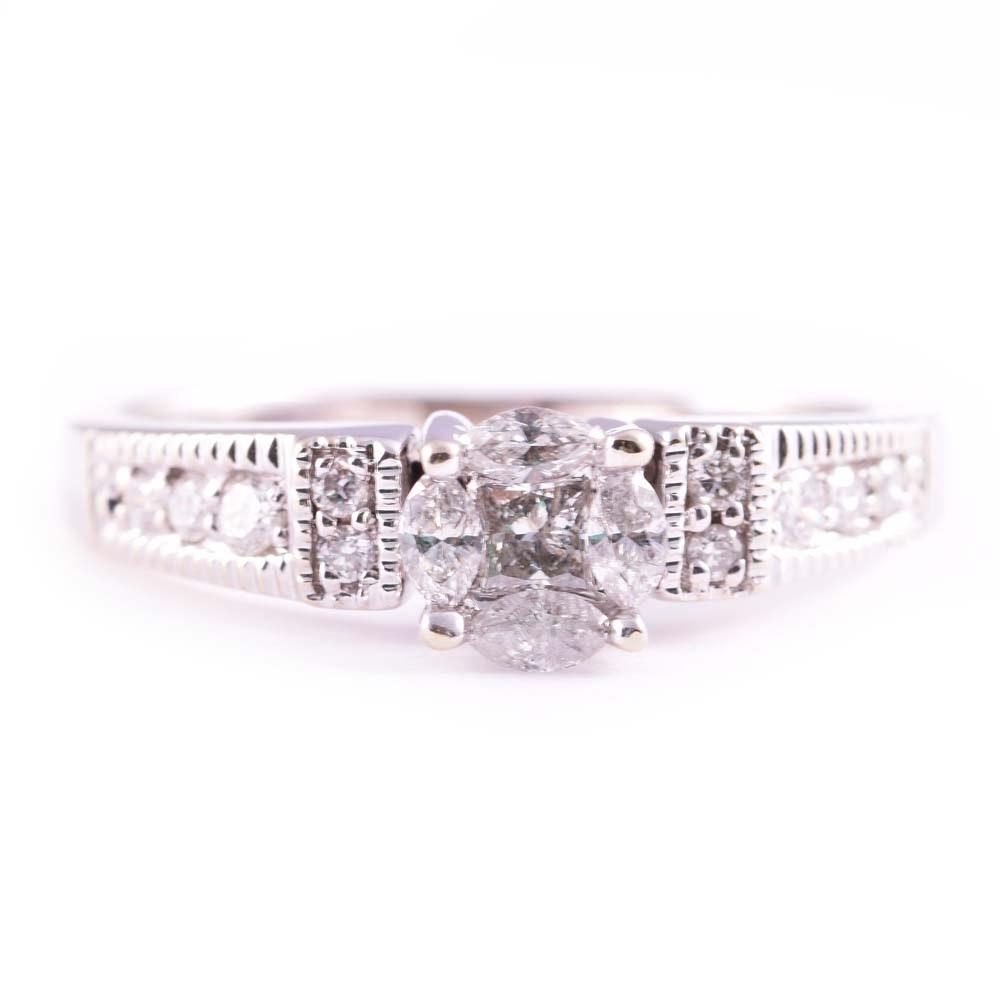 Platinum Princess Cut, Marquise and Round Diamond Ring
