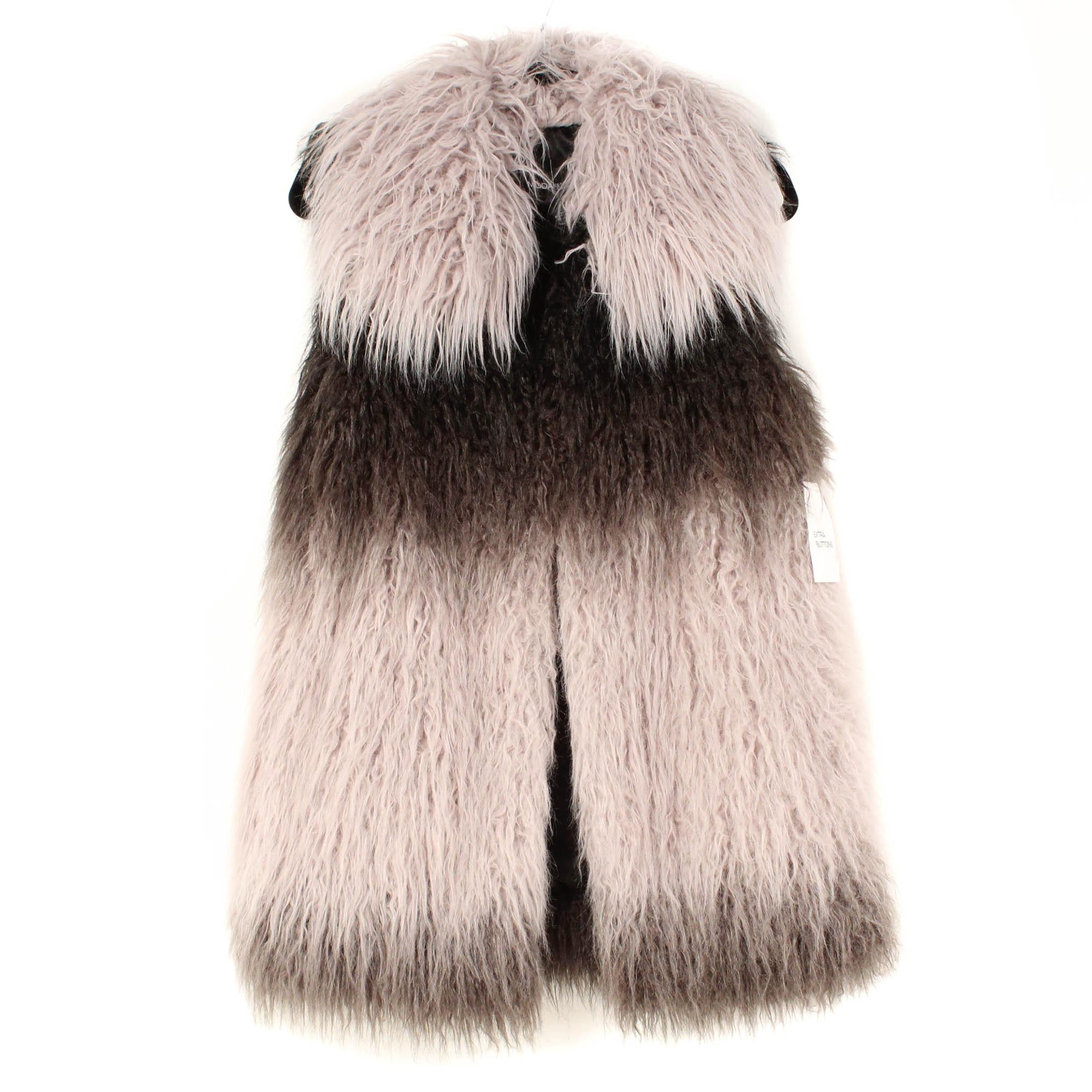 MODA Faux Mongolian Lamb Fur Vest