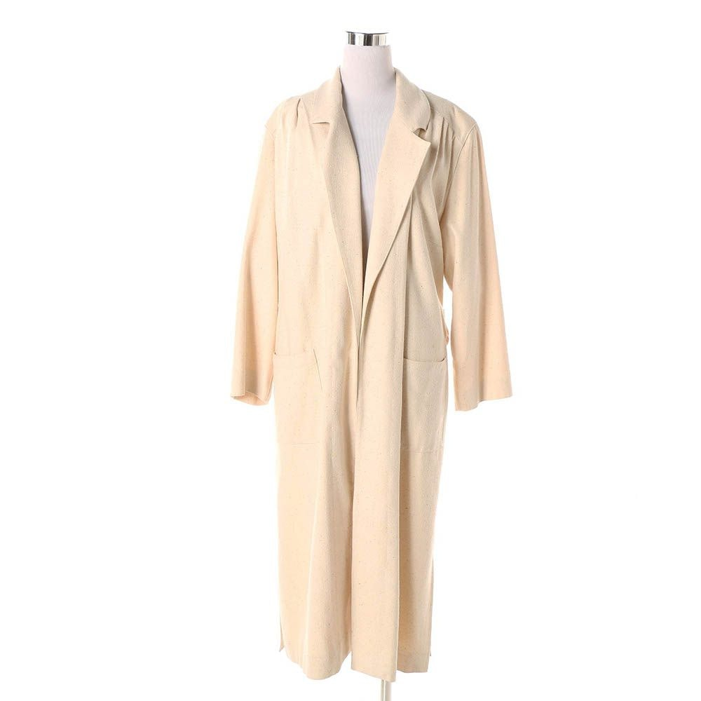 Circa 1960s Naturelle George Georgiou Off-White Silk Duster Jacket