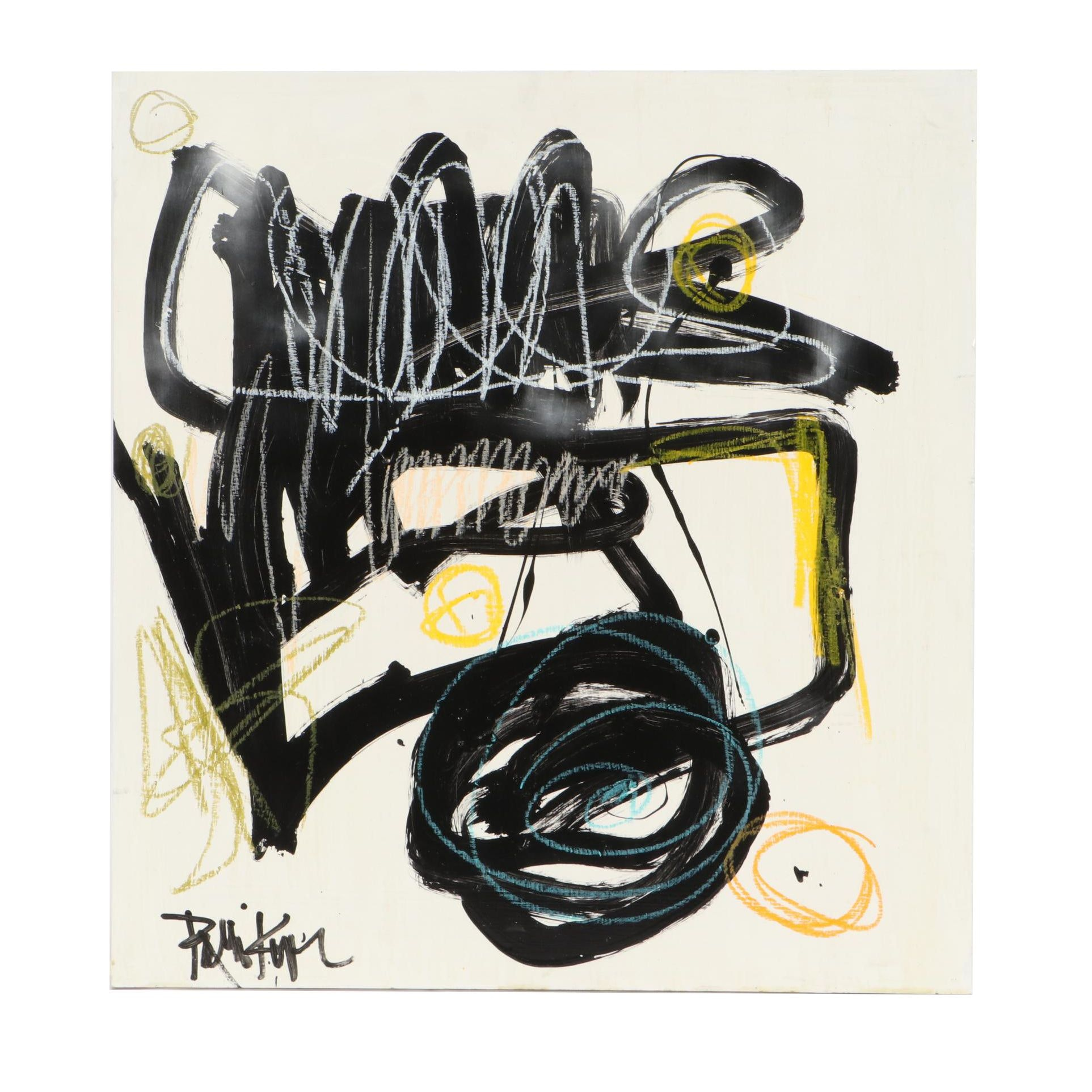 "Robbie Kemper Abstract Mixed Media Painting ""Scribble on Scribble"""