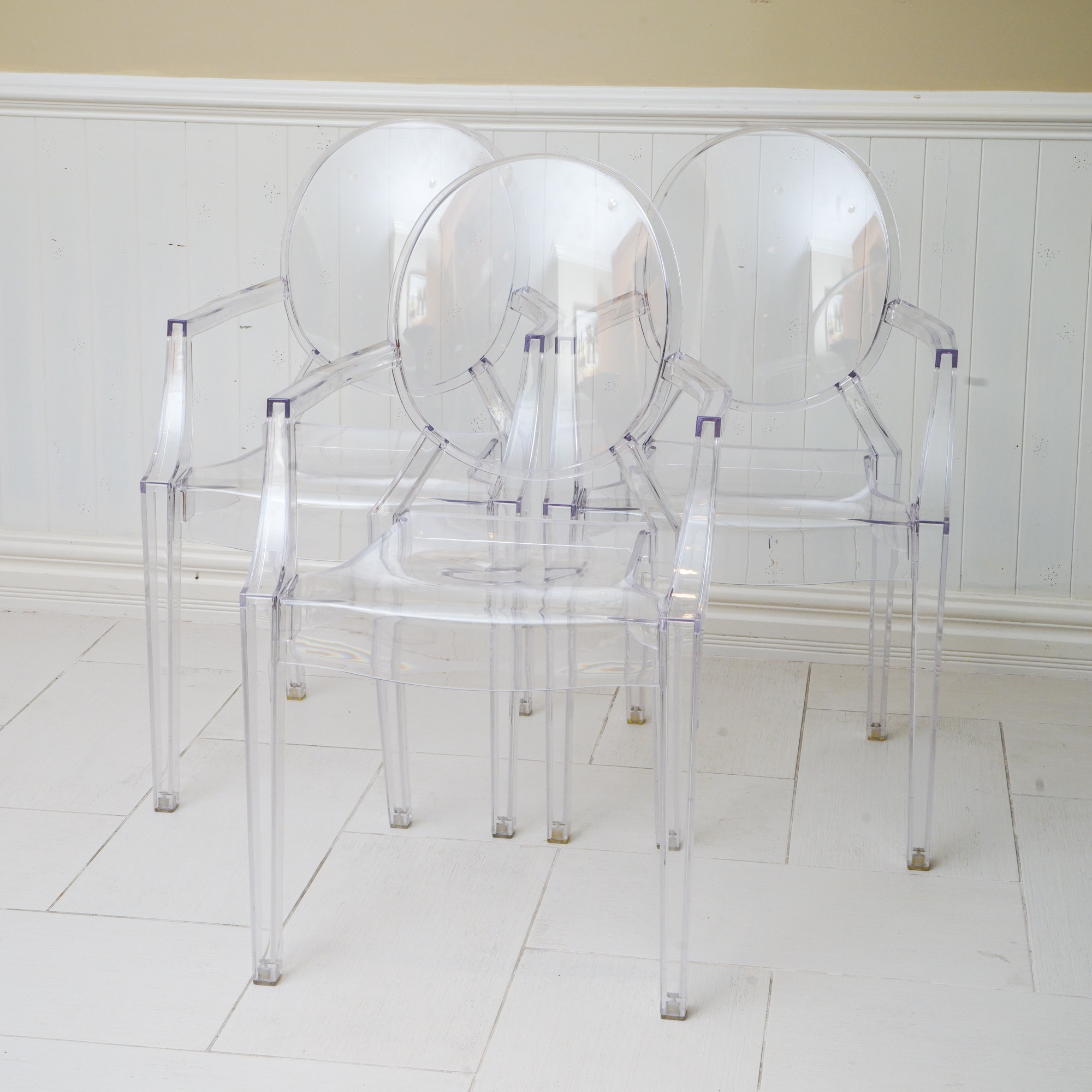 """Three Clear Acrylic Armchairs After Kartell's """"Louis Ghost"""""""