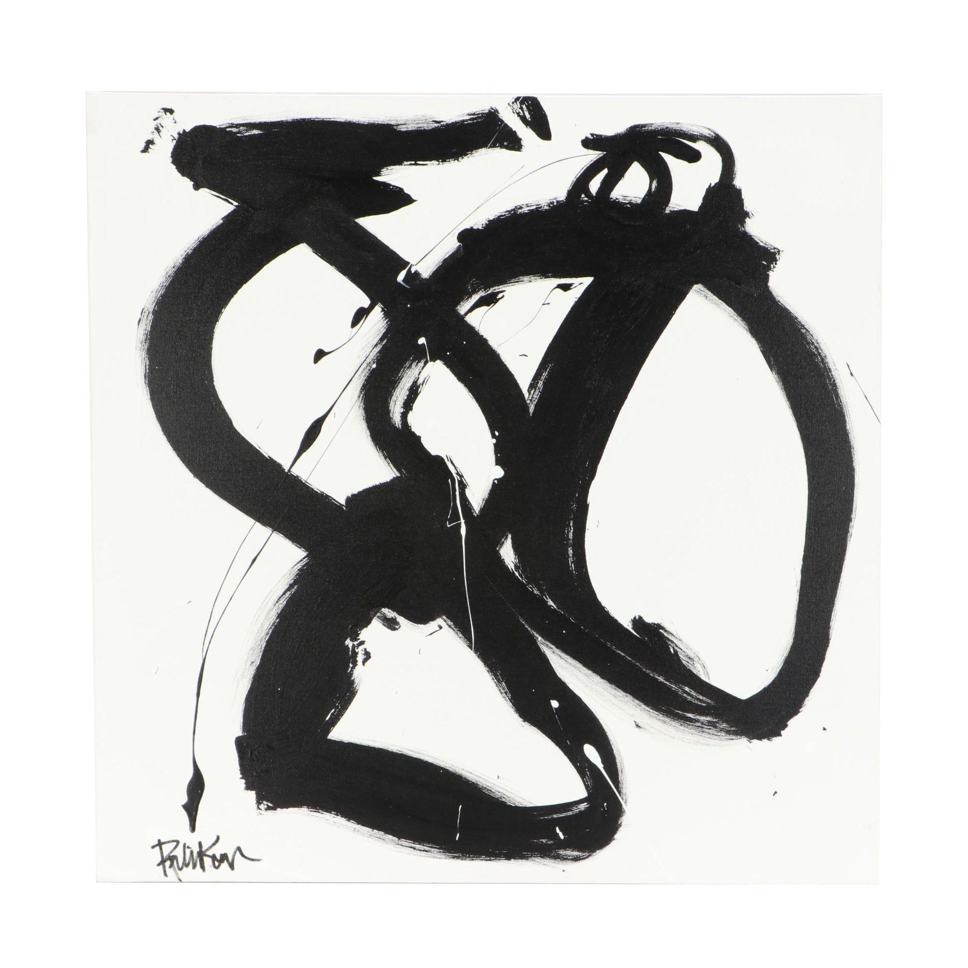 """Robbie Kemper Acrylic Painting """"Various Black Loops"""""""