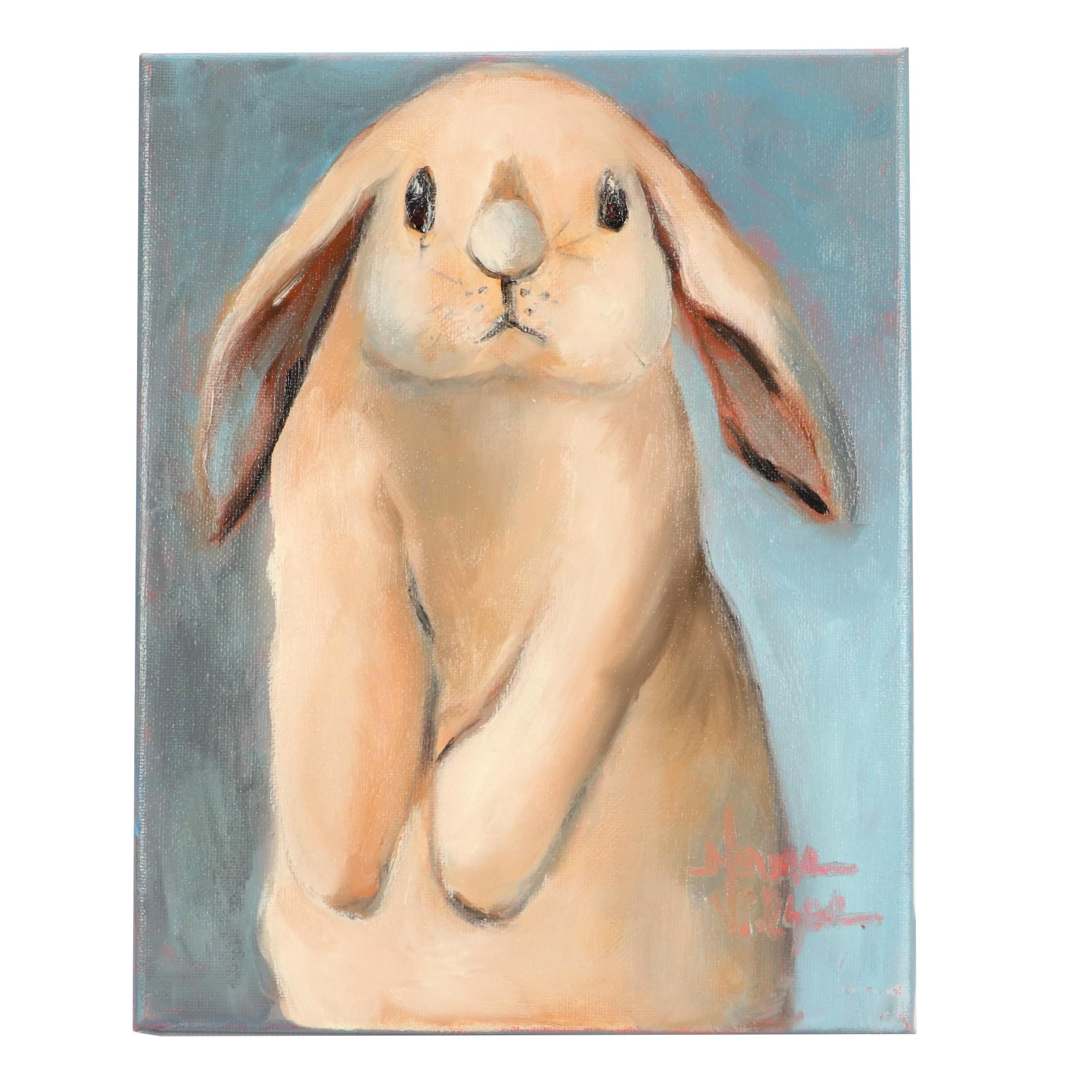 "Norma Wilson Oil Painting ""Doing the Bunny Hop!"""