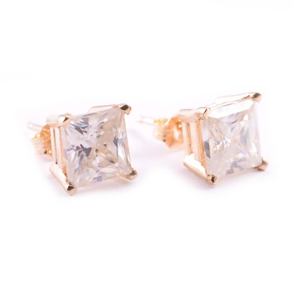 14K Yellow Gold Moissanite Earrings