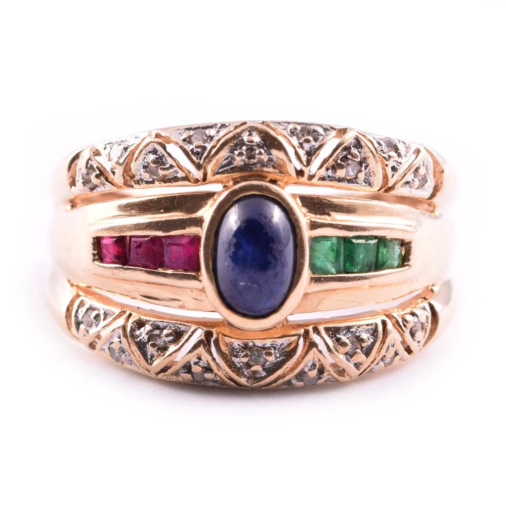 14K Yellow Gold Sapphire, Diamond, Ruby and Emerald Ring