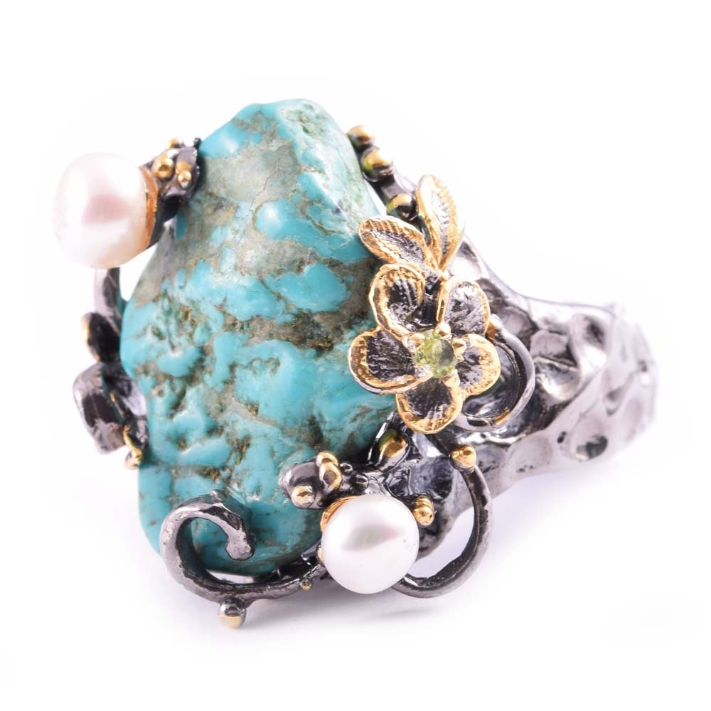 Sterling Silver Turquoise, Cultured Pearl, Emerald, and Peridot Ring