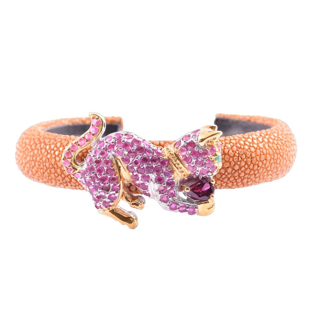Shagreen Cuff with Gold Wash Over Sterling Silver Gemstone Cat Accent