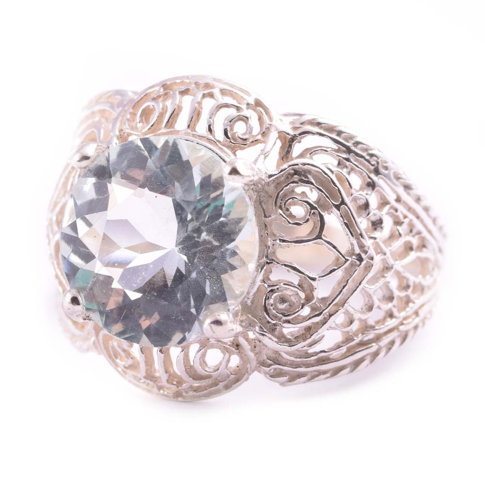 Sterling Silver 3.45 CT Aquamarine Ring