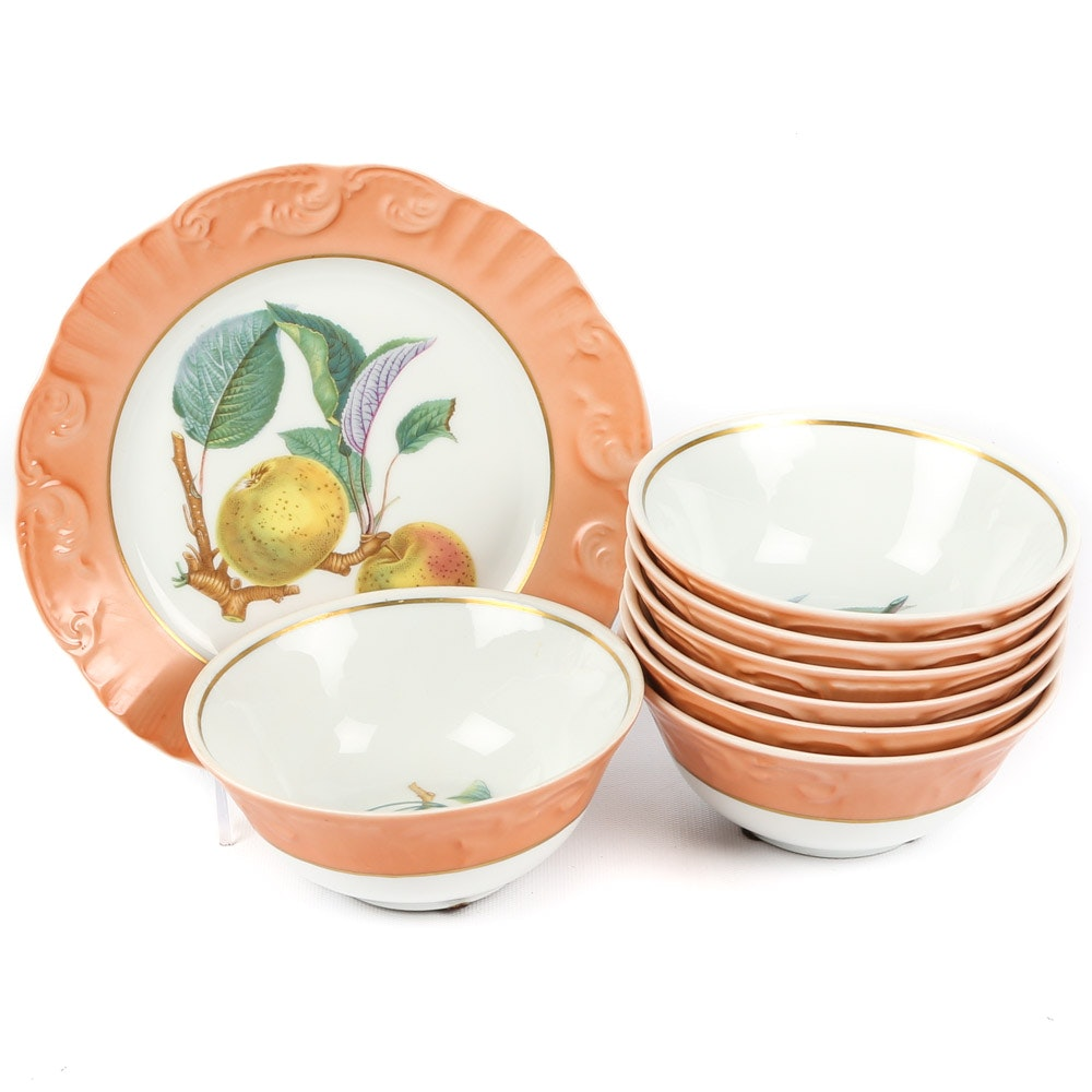 "Mottahedeh ""Summer Fruit"" Dessert Bowls and Plate"
