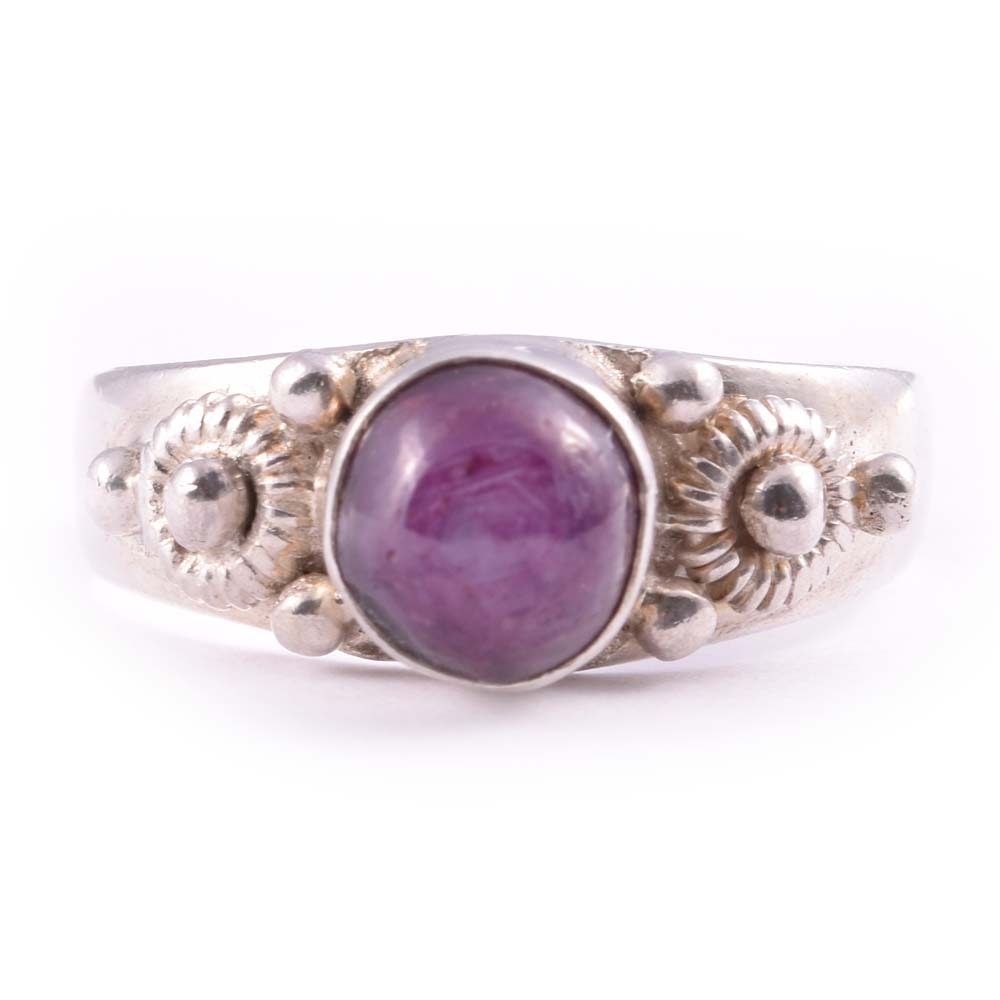Sterling Silver 1.15 CT Ruby Cabochon Ring