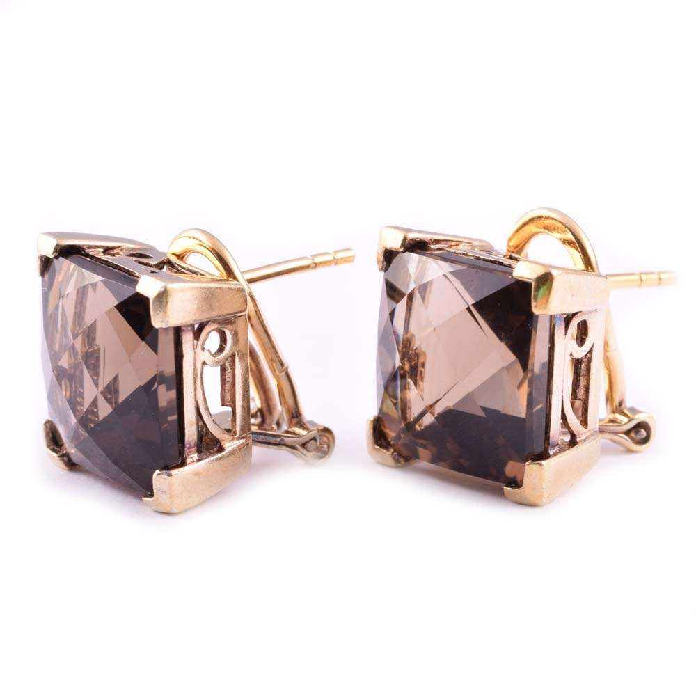 Gold Wash Sterling Silver 16.00 CTW Smoky Quartz Earrings