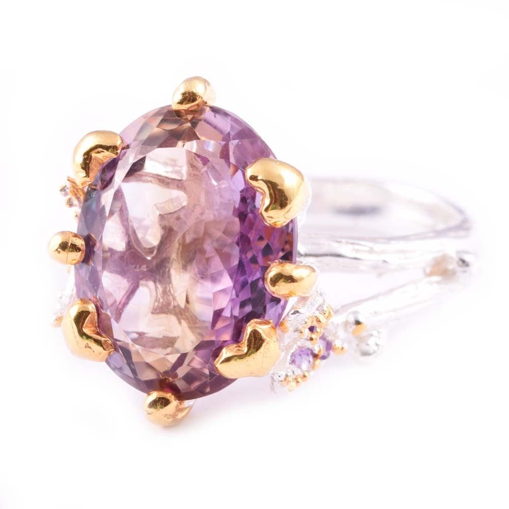Sterling Silver 10.30 CTW Amethyst Ring