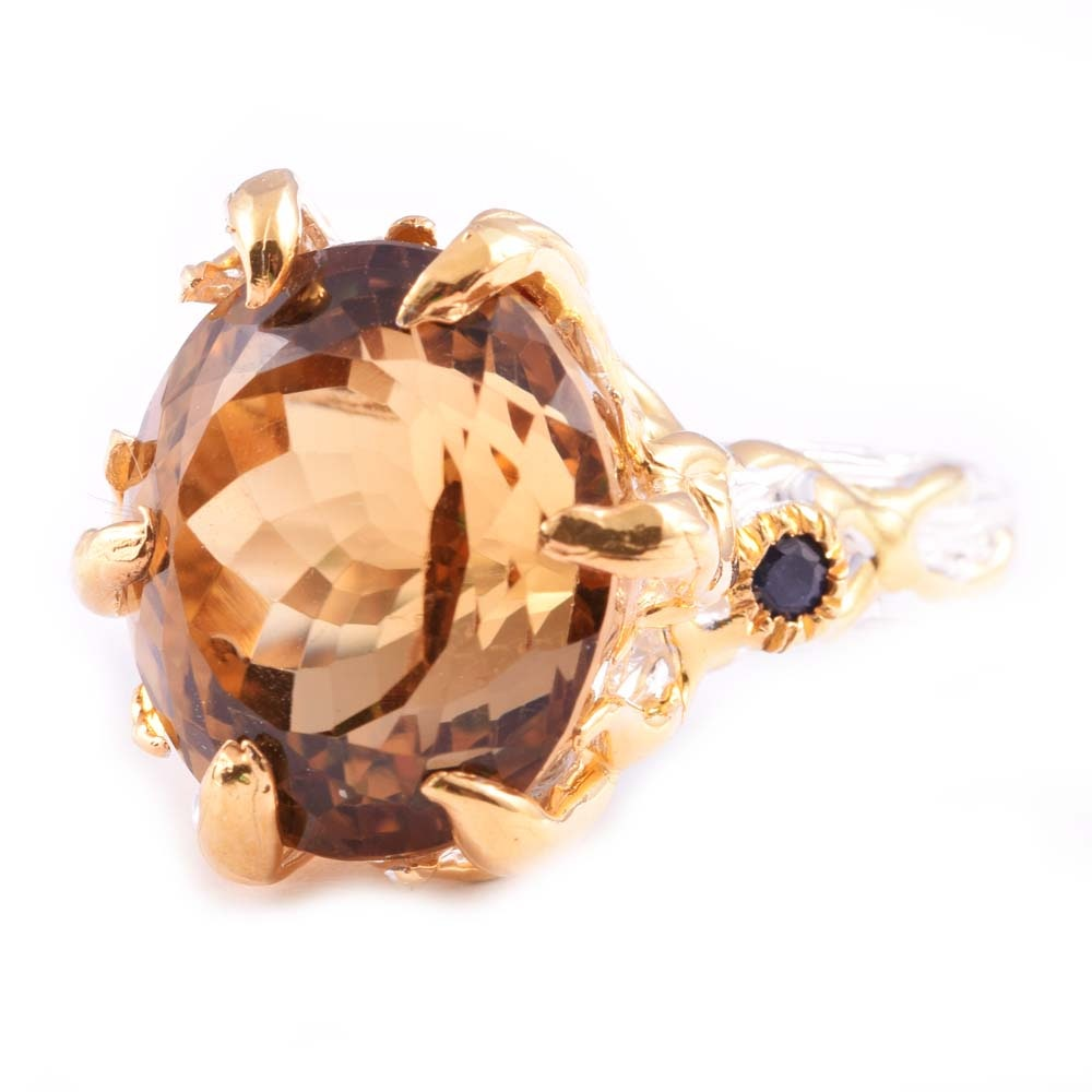 Sterling Silver 14.93 CT Citrine and Sapphire Ring
