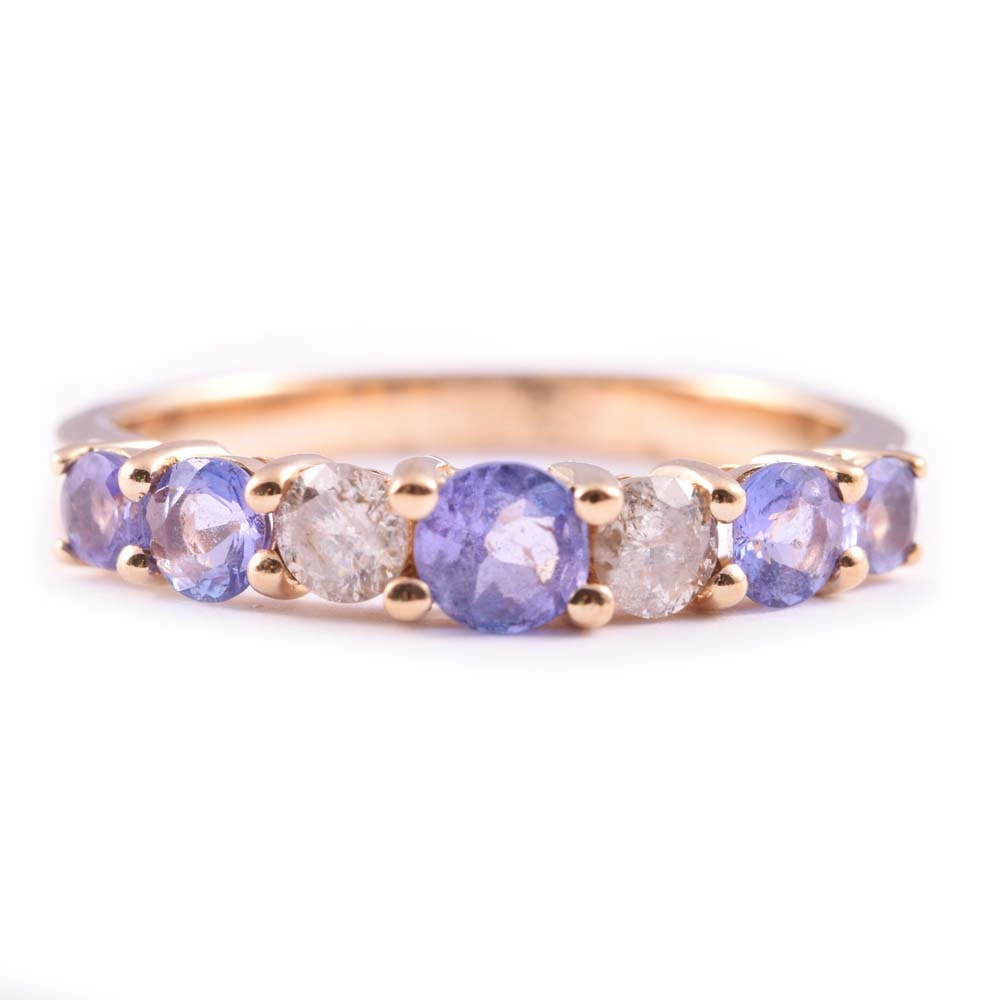 10K Yellow Gold Tanzanite and Diamond Ring
