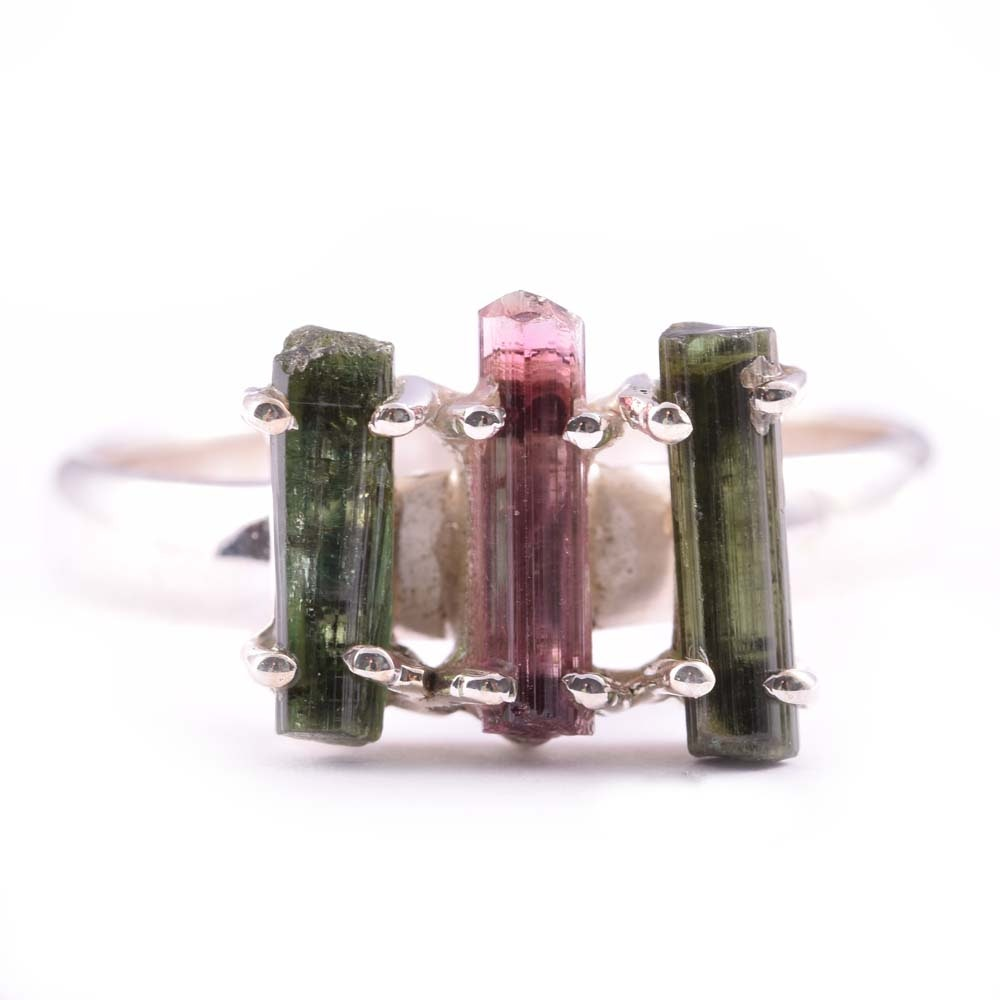 Sterling Silver Tourmaline Crystal Ring