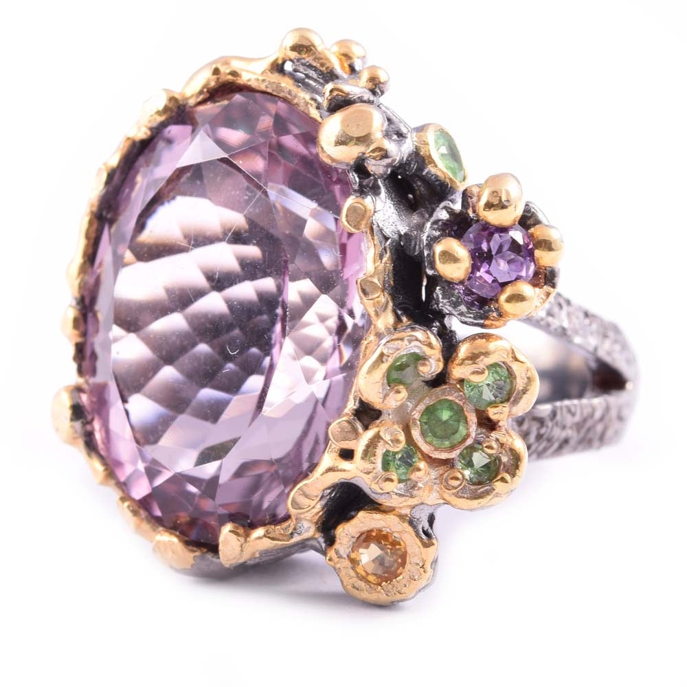 Sterling Silver 16.32 CTW Amethyst, Sapphire, and Peridot Flower Ring