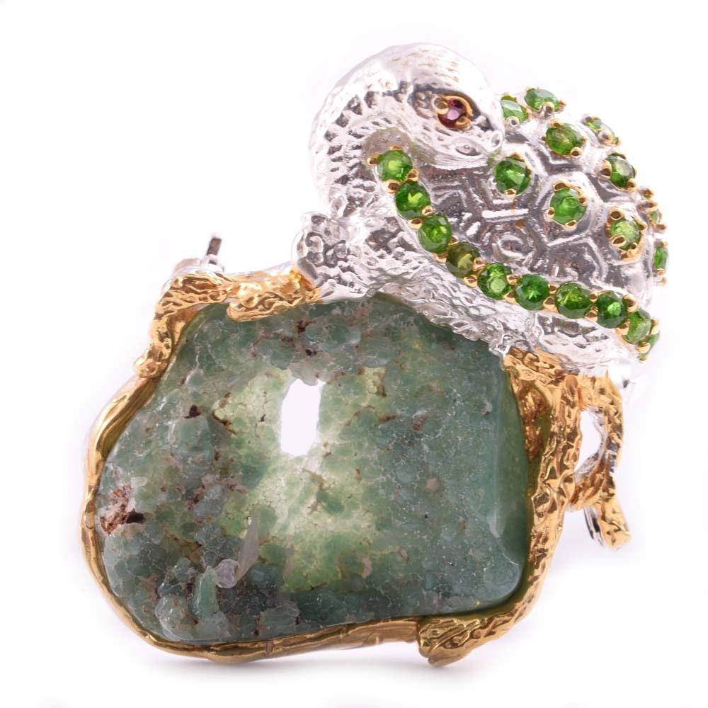 Sterling Silver Turtle Gemstone Brooch