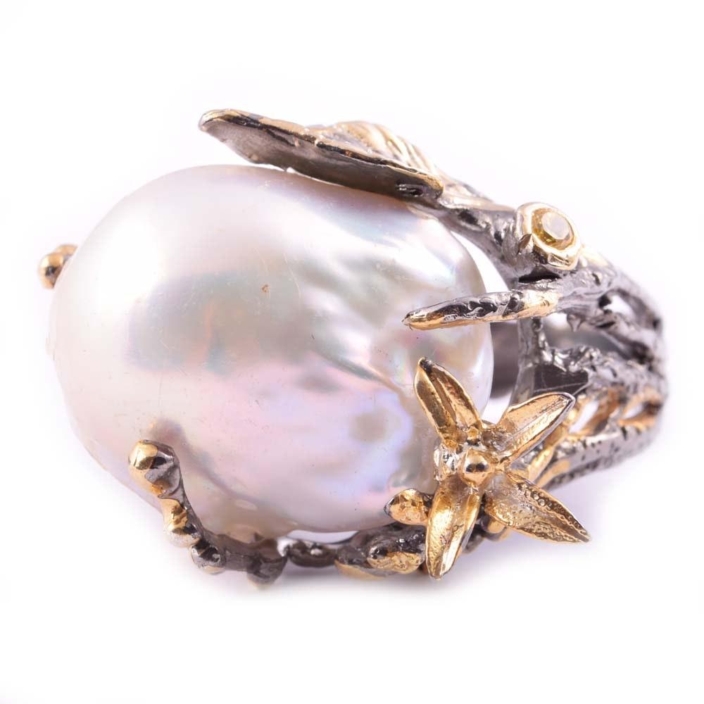 Sterling Silver Freshwater Pearl and Quartz Ring