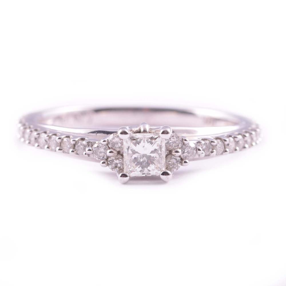 10K White Gold Princess Cut and Round Diamond Ring