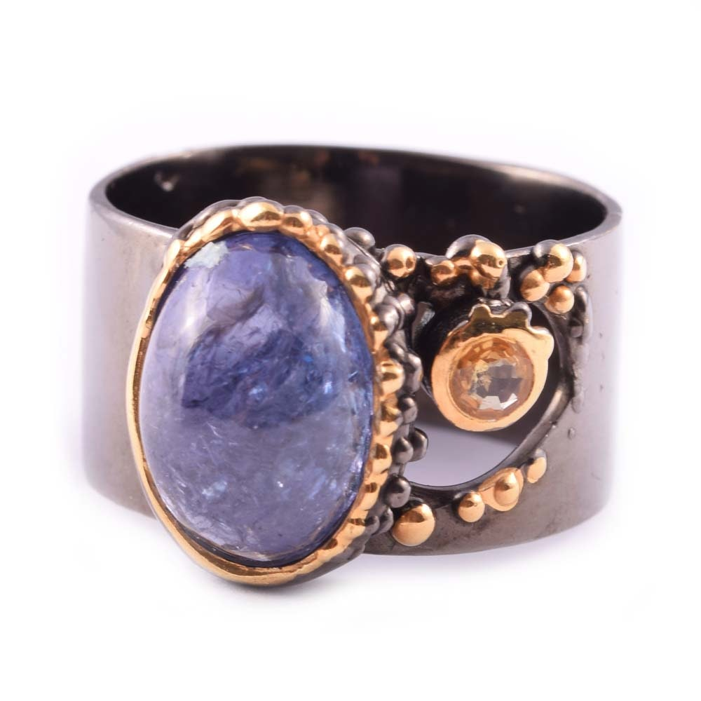 Sterling Silver 5.75 CT Tanzanite and Sapphire Ring
