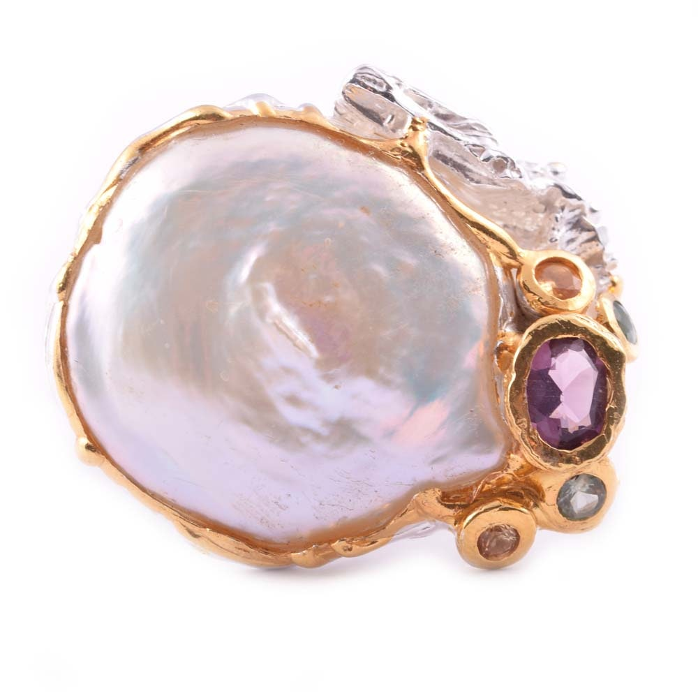 Sterling Silver Freshwater Pearl and Multi-Colored Gemstone Ring