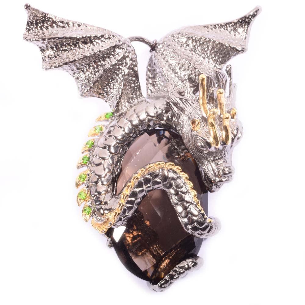 Sterling Silver 32.00 CT Smoky Quartz and Peridot Dragon Pendant